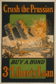 "Vintage World War Poster ""Crush the Purssian War Bonds"""